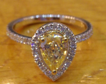 1.40 ct Pear Cut Diamond Engagement Ring, 14K White Gold Ring, Art Deco Halo Yellow Diamond Engagement Ring