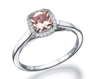 Platinum Ring Cushion Cut Ring, Halo Engagement Ring, 1.75 TCW Diamond Ring Setting, Cushion Cut Engagement Ring