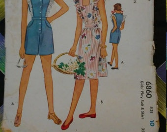 1940s McCall Play Suit Pattern #6860 Size Girls 10