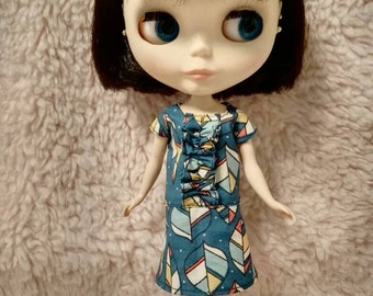 Blythe Doll Outfit Clothing leaf print green Dress