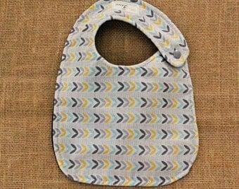 Blue, Yellow, Gray Leaf Pattern Cloth Baby Bib W/ Dark Blue Backing