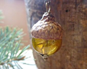 Acorn necklace gift ,  Forest pendant ,  Dandelion necklace ,  Mini terrarium necklace , Bridesmaids gift fall wedding