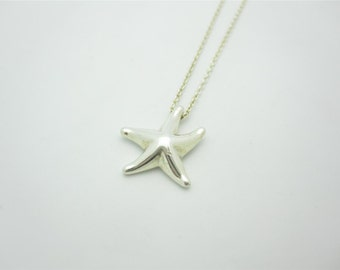 Tiffany & Co. Sterling Silver Elsa Peretti Small Starfish Pendant Necklace 16""