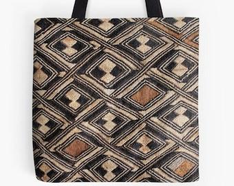 African Art Design - Tote Bag / Exclusive Kuba Cloth Design #1 / Poly Poplin Fabric