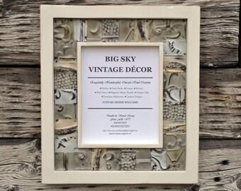 Antique Ceiling Tile Picture Frame Vintage Reclaimed Salvaged Wood FR1347