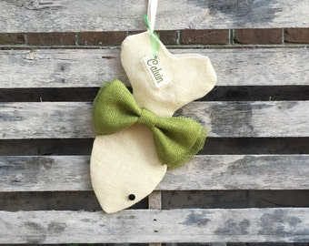 Cream Burlap Cat Christmas Stocking