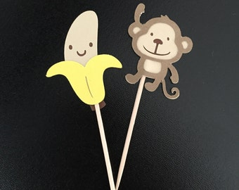 Monkey & Bananas Cupcake Toppers (1 Dozen)