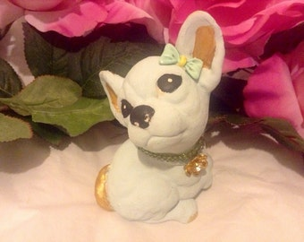 Sale - Upcycled Moorcraft Tinkerware Painted And Embellished Kitsch Lucky Chihuahua Puppy Figurine