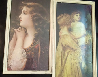 Sale - Vintage Framed 19th Century Prints Mounted Within Upcycled Antique White Frames