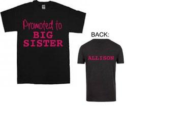 personalized big sister shirt big sister tshirt birth announcement big Sister t shirt big sister t-shirt