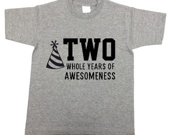 TWO (or any age) years of AWESOMENESS kids birthday t-shirt shirt for party , boys, girls, GRAY