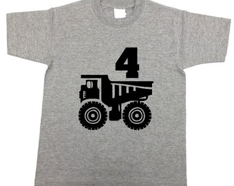 Dump Truck birthday shirt in gray navy black or light blue (any age/ number)  trucks theme t-shirt / shirt for boy - any size