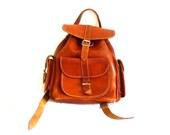 Little 70s Vintage Backpack / brown leather Backpack / boho