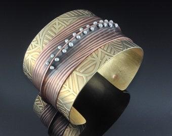 Bronze, Copper, and Silver Cuff Bracelet