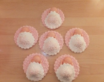 6 x Edible Fondant Sleeping Baby Girl Cupcake Toppers Cake Decoration Christening Baby Shower