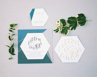 Geometric Wedding Invitation Suite, Blue Printable Invitation Suite, Hand lettered Wedding Invitation, Geometric Inspired Wedding