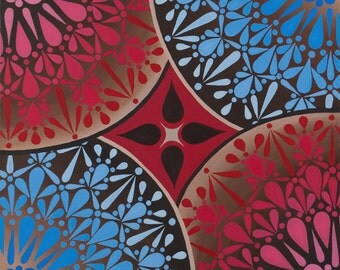 Red Blue and Umber Star, fine art print