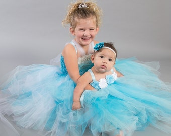 Flower girl dress - tutu dress - tulle dress - empire dress - Infant/Toddler - Pageant dress - wedding - Light blue and White - Ice dress