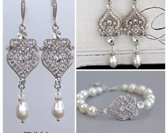 Crystal Jewelry Set, Deco Crystal Bridal Set, Bracelet & Earrings Set, Wedding Jewelry Set,  LUCY Set.