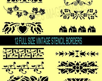 Printable Digital Borders Instant  Download black vintage digital borders  12 full size handmade stencils supply Black clipart DIY Project