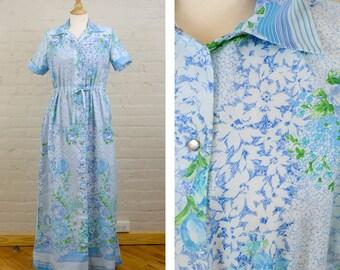 Vintage Handmade Moo Moo Dress, Snap Up House Dress, Hippie Dress, Blue Floral Print, Tied Waist Dress with Collar, Night Gown, Slip Dress