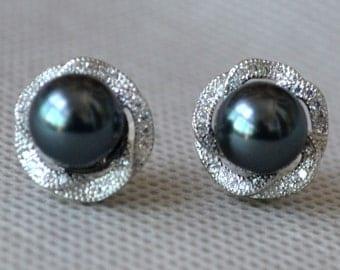 Dark Gray pearl earrings,Wedding earrings, Glass Pearl earrings,bridesmaid earrings,Maid of honor jewelry,sparkling pearl earrings