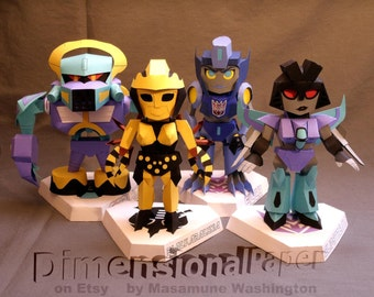 Lil' Decepticon ladies cardmodel set- SD mecha girls- Transformer papercraft figures- chibi Cybertronettes-Strika, BlackArachnia, Filch, SS