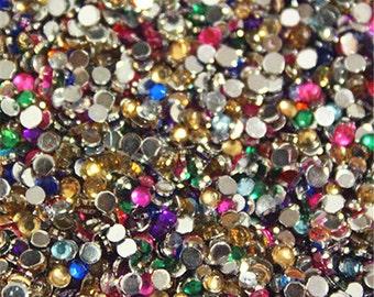 2000pcs Assorted Color Flatback Rhinestones, 2mm Flat Back Resin Beads