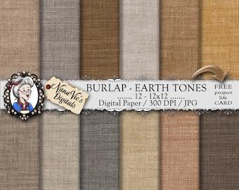 Burlap Digital Paper, Earth Tones natural linen / jute, Scrapbooking, Burlap Printable, photography, backgrounds,  burlap texture overlay