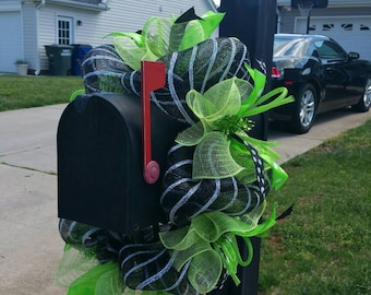 Lime Green and Black Deco Mesh Mailbox Wreath / Mailbox Swag / Mailbox Wrap / Mailbox Cascade / Mailbox Decor / Mailbox Topper