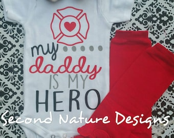 Baby Girl's Firefighters Daughter Onesie Gift Set | Newborn Hospital Outfit | My Daddy Is My Hero Firefighter Newborn Take Home Outfit