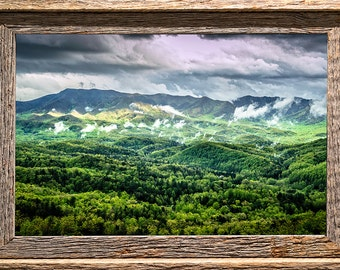 Foothills in the Mist - Smoky Mountains Fine Art Photo from William Britten - Barn wood frame