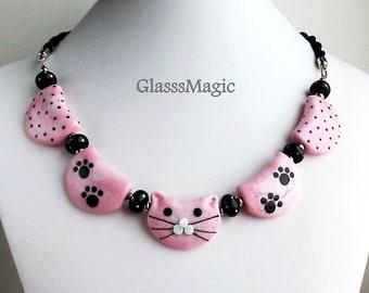 My Lovely Kitty Glass Necklace, lampwork jewelry, murano glass, cat necklace, pink necklace, glass beads, glass cat, pink necklace, cat bead