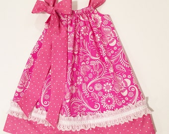 Jazzy in Hot Pink Pillowcase Dress, Made To Order Sizes 6M-5, Prices Vary by Size