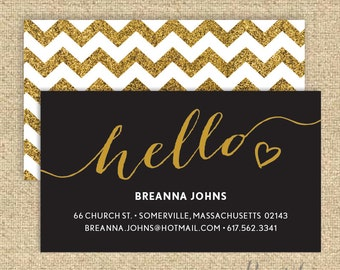 Calling Card #1 - Calligraphy | Faux Glitter | Gold Glitter | Business Card | Social Correspondence