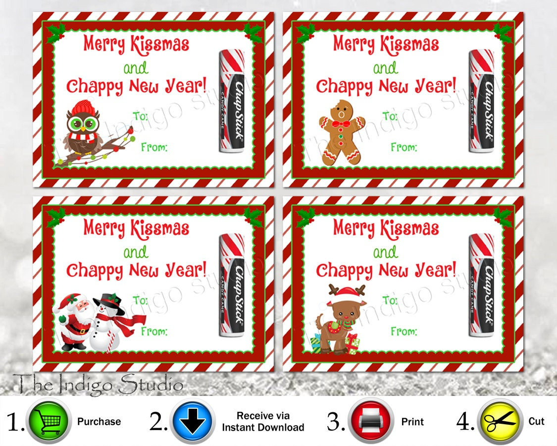 Printable Merry Kissmas and Chappy New Year 4 Different