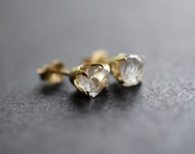14k Gold Earrings, Raw Diamond Earrings, Solid 14k Gold Stud Earrings, Bridal Earrings, Small Earrings, Unique Gift, Raw Diamond Stud Avello