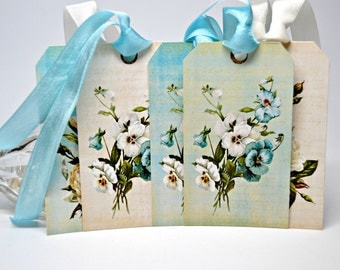 Blue Flower Tags / Set of 6 Aqua Pansy Tags / 6 Gift Tags / 6 Easter Tags / Flower Favor Tags