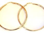 LARGE 3.5 inch Hoop Earrings Gold tone Classic Circle Round Hoop Earrings Thick Tube Hoops