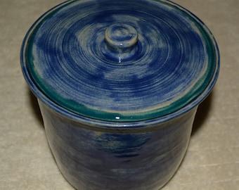 Lidded Jar, Canister, Vessel, Cookie Jar, Blue