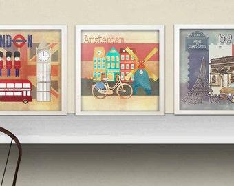 INSTANT DOWNLOAD - Set of 3 travel theme art prints for kids, travel, kids art paris,amsterdam ,london