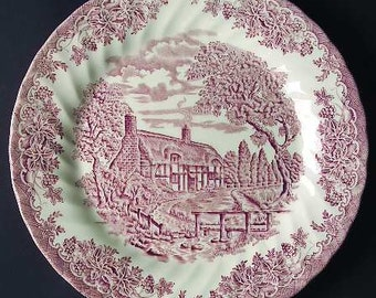 The Brook Pink Porcelain Dinner Plate  (Columbia, Malaysia) by Churchill