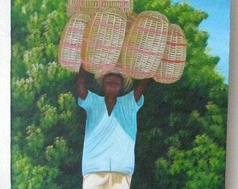 Rare Signed EMMANUEL DULCE Contemporary Art Painting Haiti - Listed Haitian Artist