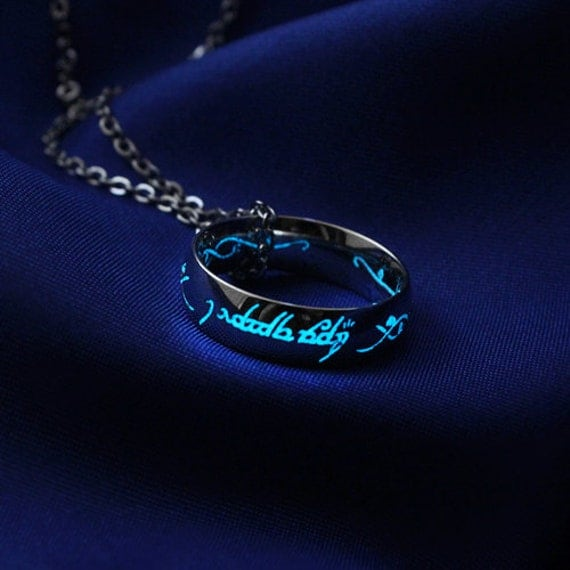 Elvish engagement ring 39i love you39 glow in the dark for Glow in the dark wedding rings