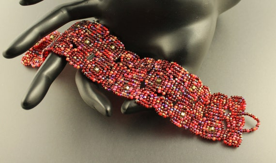 Womans Gift...Red.Japanese seed beads.Bracelet.Cuff.Beadwoven squares.Cottage Chic.Casual wear.Red.Red Wine Bracelet