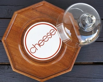 Wood Cheese Tray with Glass Dome - Modern Typography - 1970's Serving Platter