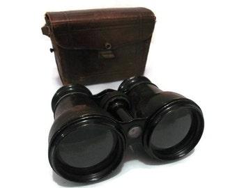 Edwardian French Binoculars in Leather Case, Paris France circa 1900s Antique Binoculars Vintage Binoculars