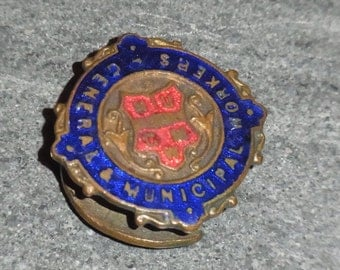 FREE SHIPPING Vintage National Union of General and Municipal Workers Badge circa 1930s, Fattorini Button Badge, Enameled  Costume Jewelery