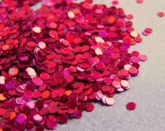 solvent-resistant glitter shapes-red hologram dots
