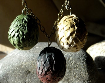Drogon Rhaegal and Viserion Dragon Egg Necklaces - hand painted- Inspired by Daenerys Targaryen Game of Thrones